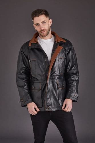 Men'S Leather Coat in Black :Cassar